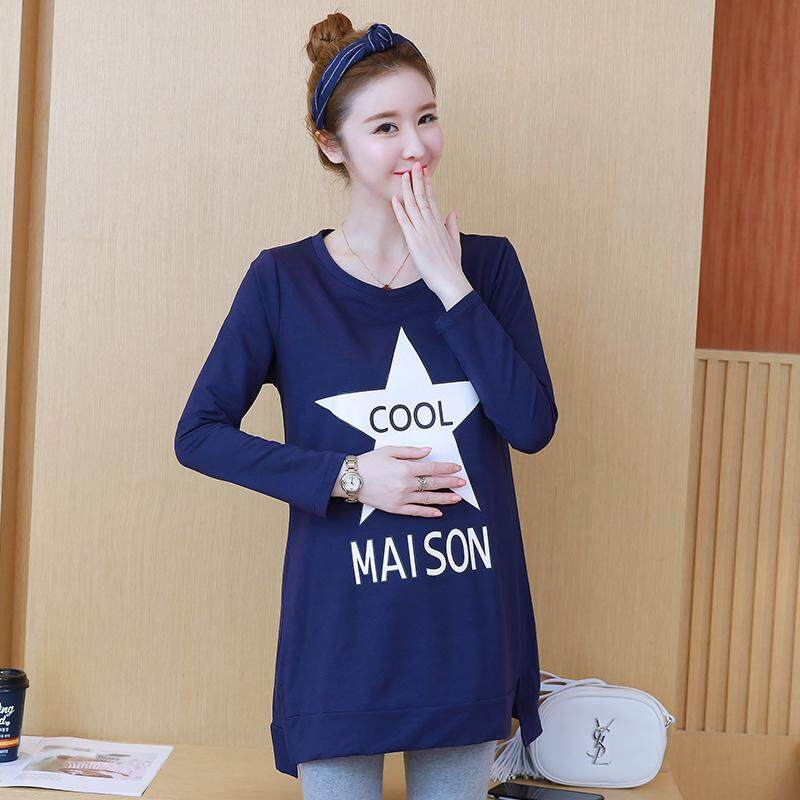 6bbe7d3141632 2019 pregnant women spring new Korean version of the long round t-shirt  bottoming shirt