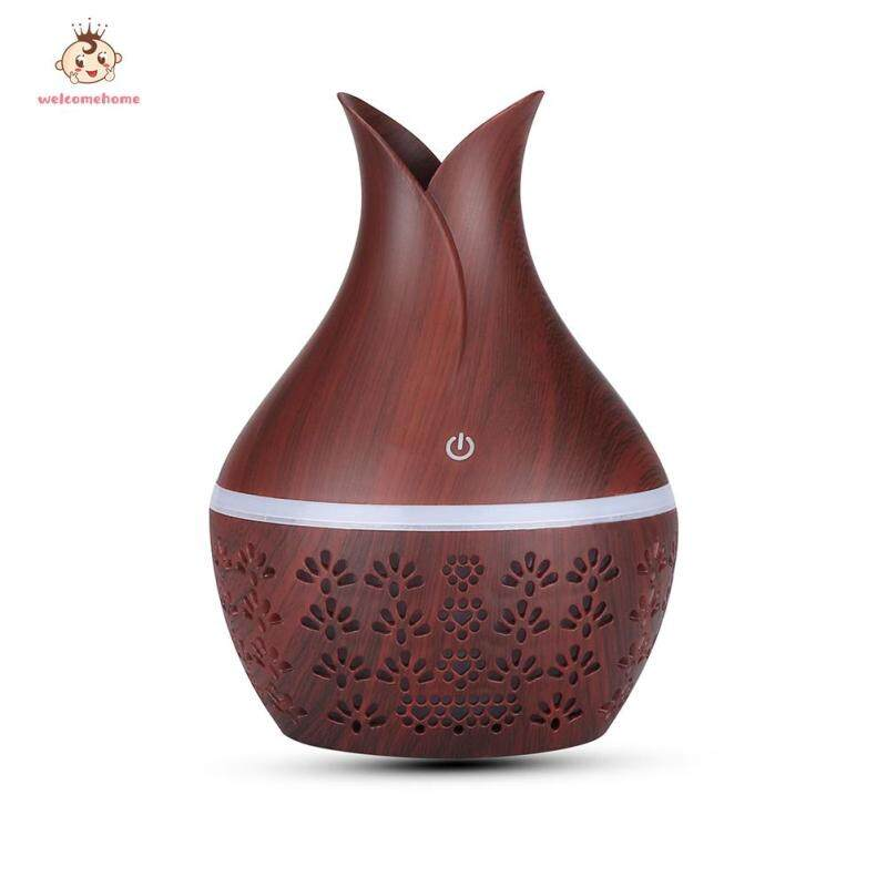 300ml USB Aroma Essential Oil Diffuser Hollow Wood Grain Electric Ultrasonic Mist Maker Humidifier Singapore