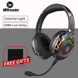 Wiresto RGB Over the Ear Headphone Bluetooth 5.0 Headset 20H Play No Latency Designer Painting Noise Cancelling Foldable Fast Charging Type-C Wired Wireless Headband Hi-Fi Sound Detachable Mic Super Bass Audio Cable Free Leather Storage Bag Universal Size thumbnail