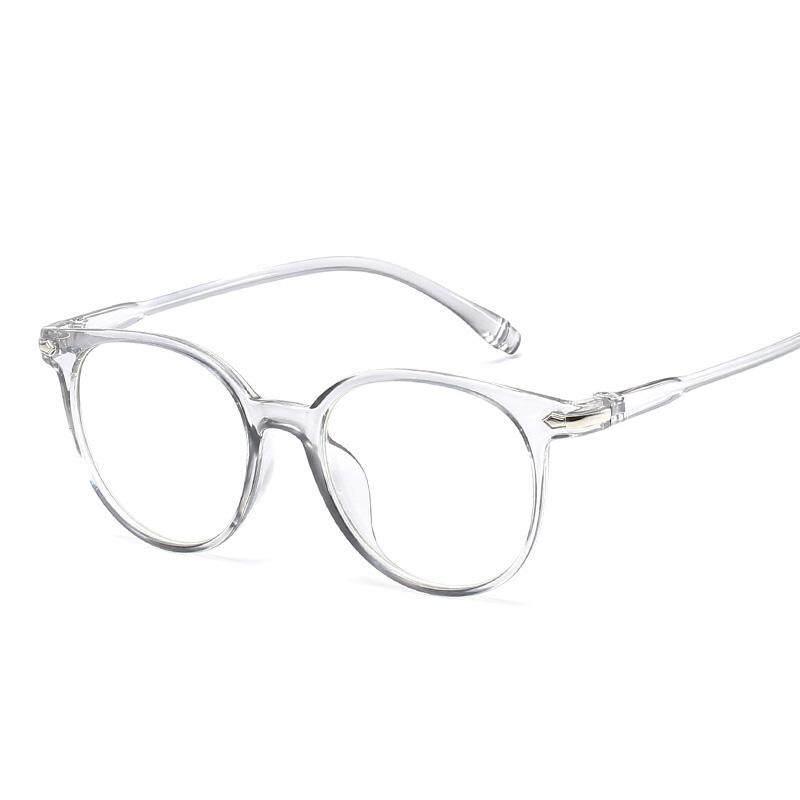 Wanita Pria Transparan Bingkai Bulat Kacamata Hitam Anti-BLUE Kacamata Datar Fashion Kacamata Luar Ruangan