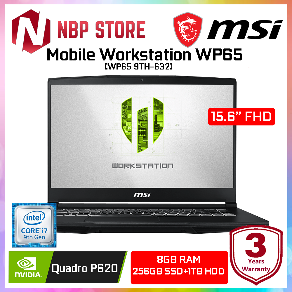 MSI Mobile Workstation WP65 9TH-632 15.6  FHD Laptop ( i7-9750H, 8GB, 256GB+1TB, Quadro P620 4GB, W10P ) Malaysia