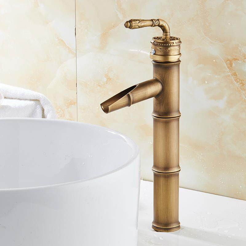 Bathroom Basin Faucets Bamboo faucet Hot Cold Mixer Taps Classic Single Handle Antique Brass Deck Mounted Sink