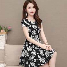 RD Đầm Nữ Tay Ngắn Váy Xòe Chữ A In Hoa Trẻ Trung