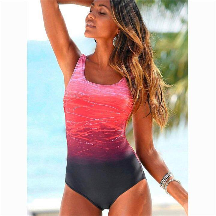878fc1a2ac Large Size 2019 Sexy One Piece Swimsuit Female Women Vintage Swimwear High  Neck Bandage Criss Cross