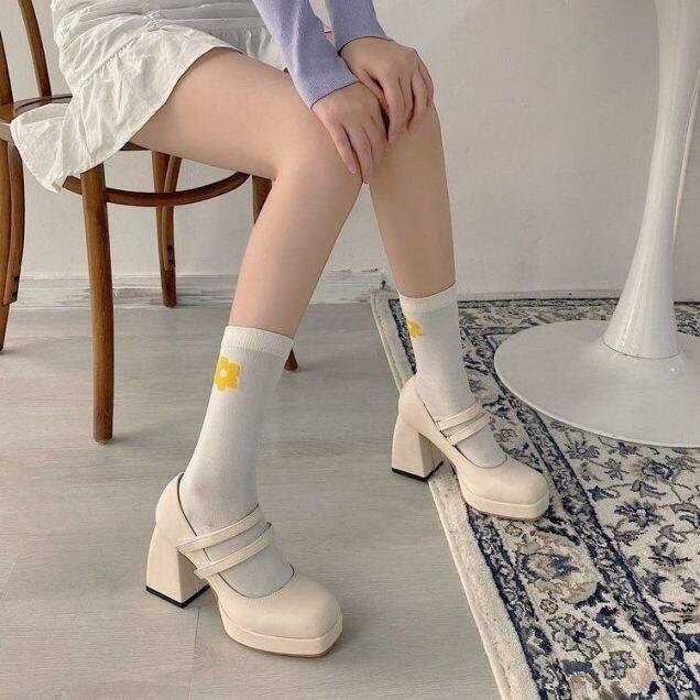 Giày Cao Gót Mary Jane Xăng Đan Kiểu Pháp Cổ Điển Mũi Vuông Gót Dày Đế Dày Chống Thấm Nước Mới Mùa Xuân 2021 Cho Nữ, Xu Hướng giá rẻ