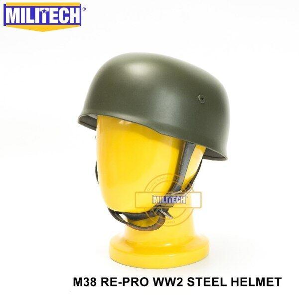 OD WW2 German M38 Steel Helmet WW II M38 Green German Paratroop Helmet Genuine Leather World War 2 German M38 Helmet