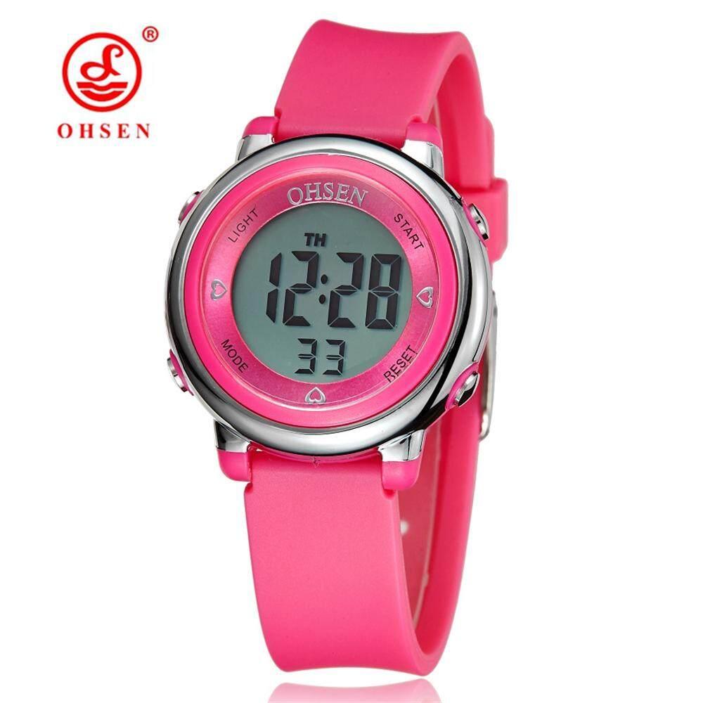 ดิจิตอล Ohsen Lcd เด็กสาวสีชมพูสายยาง 50 M Diver 7 สีการ์ตูนเด็กนาฬิกาแฟชั่น Alarm Hand นาฬิกา By China Guangzhou Ohsen Watch.