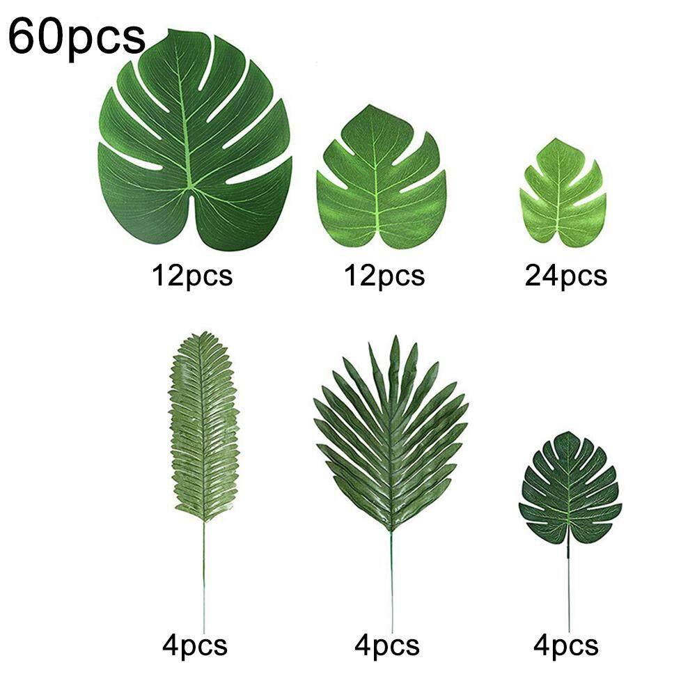 60Pcs Hawaiian Artificial Palm Leaves Tropical Plant Beach Home Party Decor