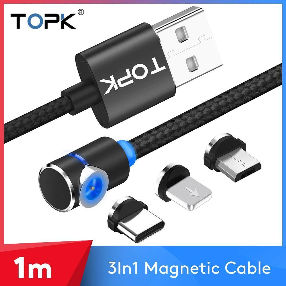 TOPK AM30 90 Độ L Loại Cáp Từ, nylon Bện LED Nam Châm Micro Loại-C 8-pin 3in1 Cáp Xiaomi Samsung iPhone Huawei
