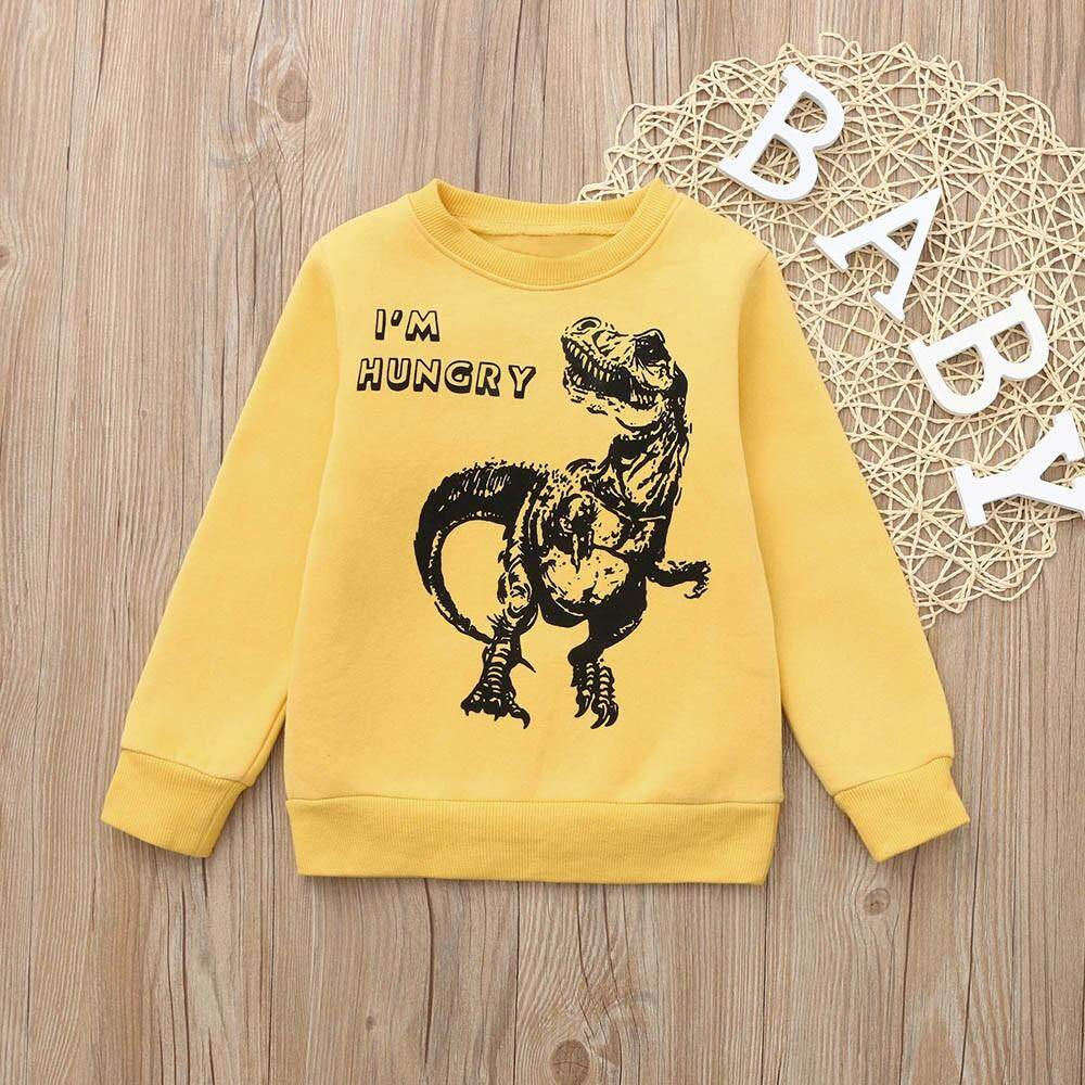 Children Kids Boys Dinosaur I/'m Hungry Letter Print Warm Tops Sweatshirt Jumpers Pullover Tops Clothes
