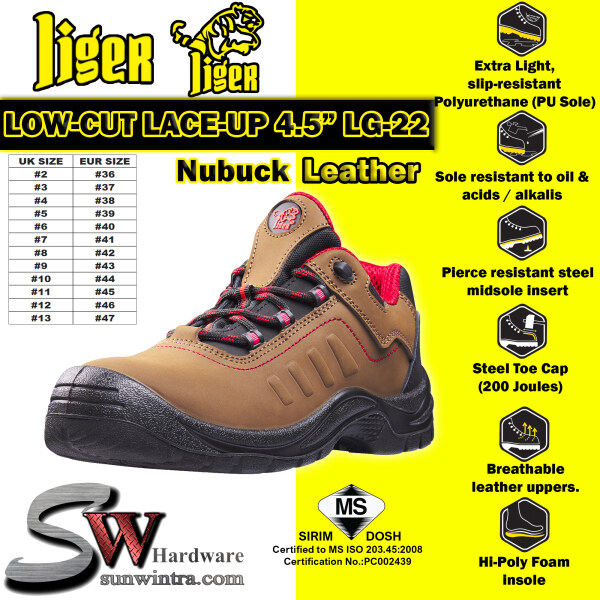 LIGER 4.5 Inch Low-Cut Lace-Up Sirim Safety Shoes Nubuck Leather LG-22/LG22 (Size Available #6 ~ #10)