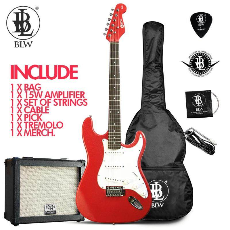 BLW Glitz Stratocaster Style Electric Guitar Starter Beginner Pack comes with 15wAmplifier, Bag, Cable, Strings, Pick and Merchandise Sticker (Red) Malaysia