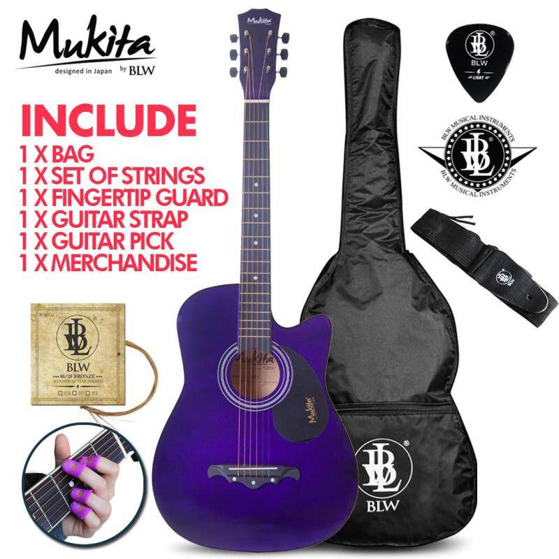 Mukita by BLW Standard Acoustic Folk Cutaway Basic Guitar Package 38 Inch for beginners with Bag, Pick, String Set, Strap, Fingertip Guard and Merchandise Sticker (Violet) Malaysia