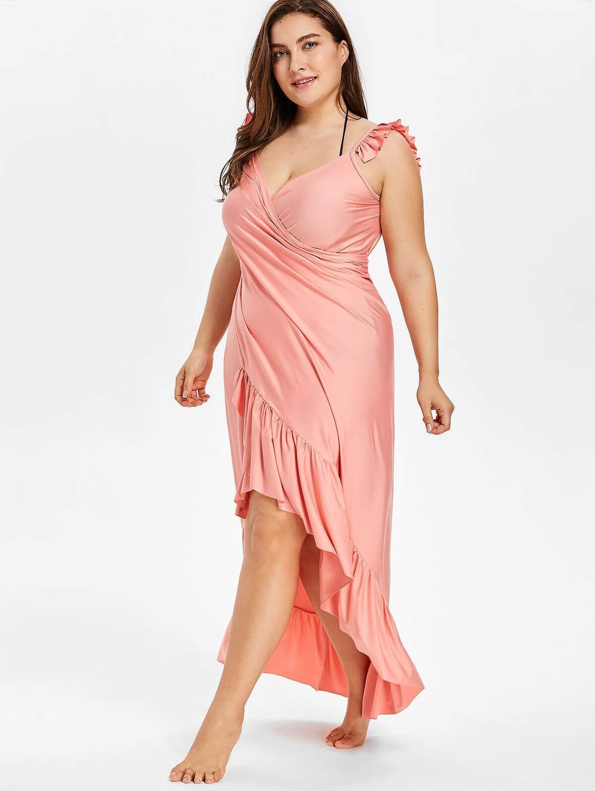 36148136d7f Maxi Plus Size Flounce Wrap Beach Dress Multifunctional Cover up Dress
