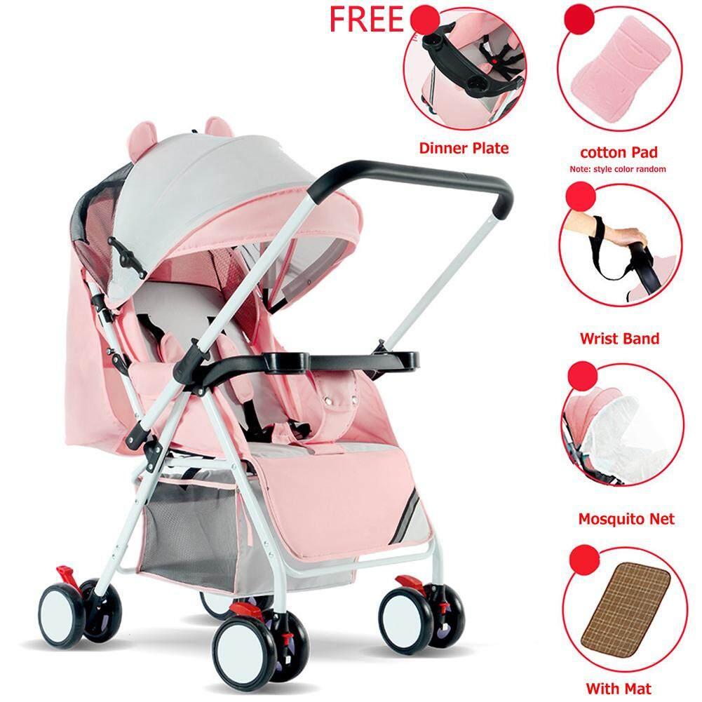 Rd พับได้พกพาได้กลางแจ้งคู่โกหกนั่งรถเข็นเด็ก 4 ล้อเด็กเด็กทารก By Redcolourful.