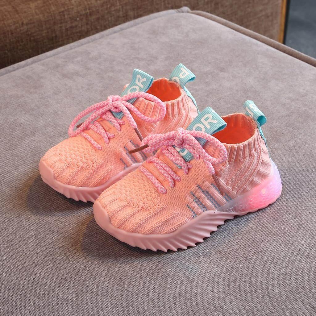 Winleworld Toddler Infant Kids Baby Girls Boys Mesh Led Light Luminous Sport Shoes Sneakers.