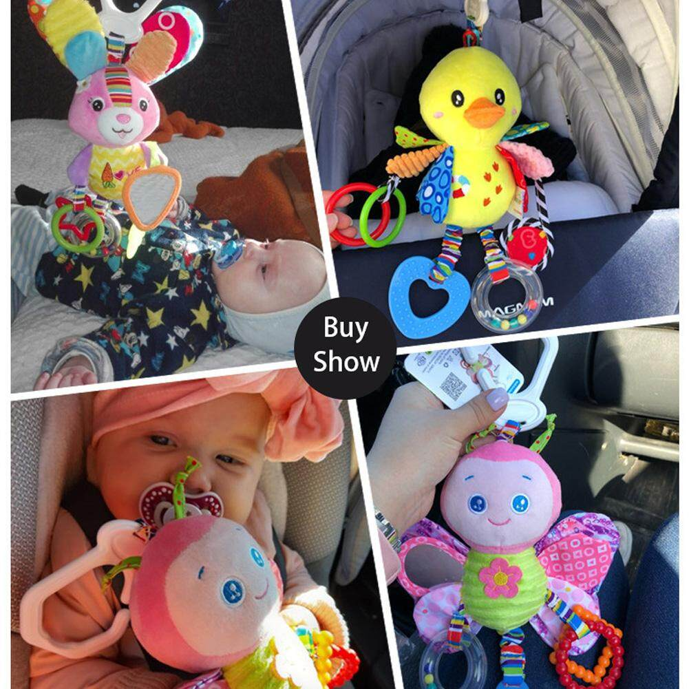 Infant Baby Rattles Plush Animal Stroller Hanging Bell Play Toys Doll Soft Beds