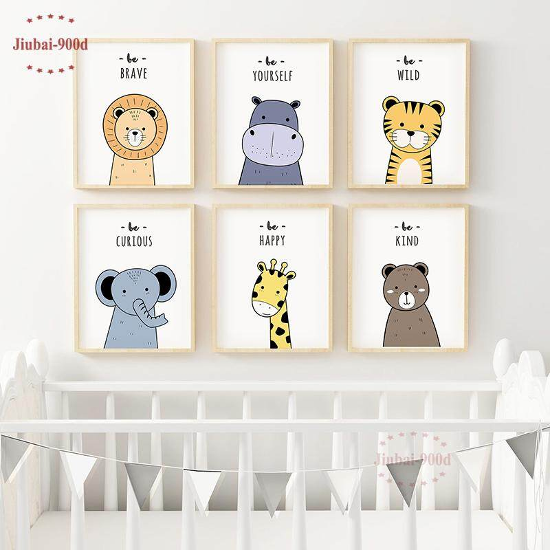 6Pcs 8x10inch Unframed Nursery Wall Art Decorative Cartoon Animal Pictures Lion Elephant Tiger Canvas Painting Baby Room Wall Decoration Posters and Prints NUR34