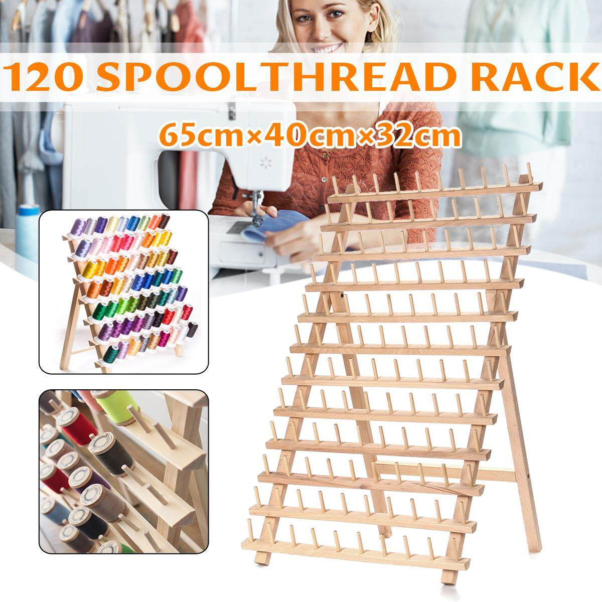 120 Spool Wood Thread Cone Holder Rack Sewing Quilting Embroidery Organizer