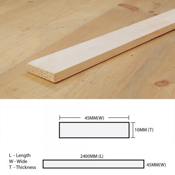 Pine Wood Timber Batten (Solid Timber Flooring) Planed Surfaced Four Sides (S4S) 10MM (T) x 45MM (W) x 2400MM (L)