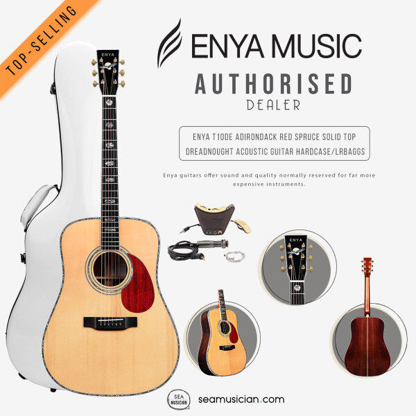 ENYA T10-DE ADIRONDACK RED SPRUCE SOLID TOP DREADNOUGHT ACOUSTIC GUITAR W/HARDCASE ABALONE INLAY & LR BAGGS PICKUP Malaysia