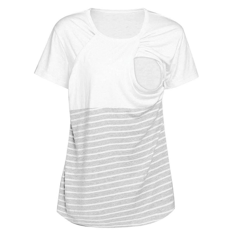 0bb9b207628 Ahlisenshop Women Pregnant Maternity Nursing Stripe Breastfeeding Top T-Shirt  Blouse