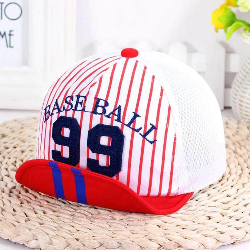 6975e8a8ab2 Summer Mesh Baby Boy Cap Embroidery Number Striped Baby Baseball Cap  Outdoor Cotton Newborn Sun Hat