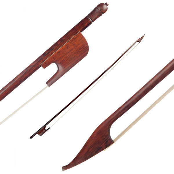 4/4 Violin Bow Baroque Style Snakewood Round Stick Snakewood Frog White Horsehair Well Balanced Malaysia