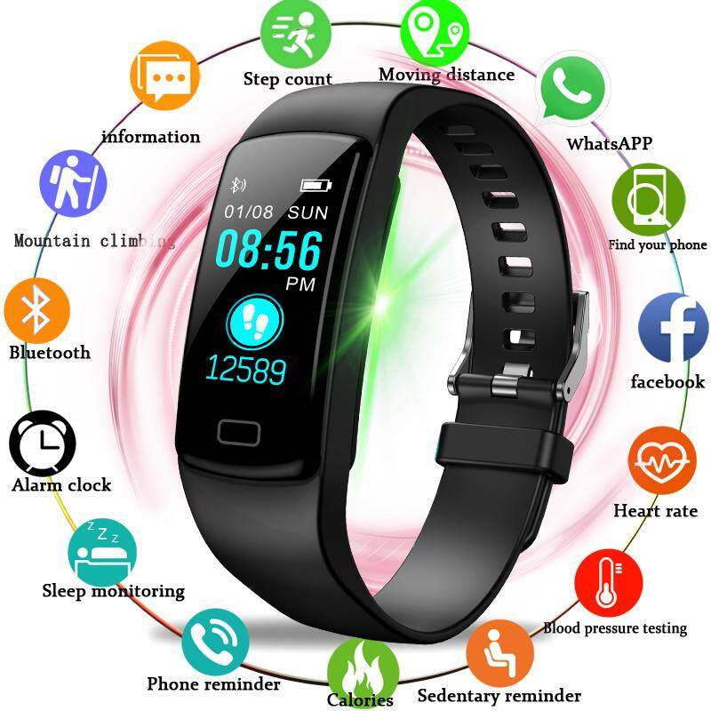 Sport Bracelet Women Men Heart Rate Blood Pressure Wristband Calories Pedometer fitness smart Watch for Android IOS Phone Malaysia