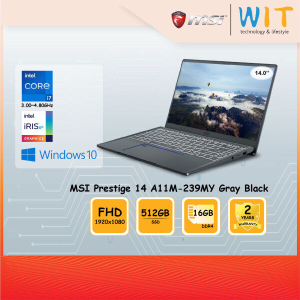 MSI Laptop Prestige 14 A11M-239MY Gray Black/Intel Core i7-1185G7 3.00~4.80GHz/16GB DDR4/512GB SSD/14.0FHD/Intel Iris Xe Malaysia