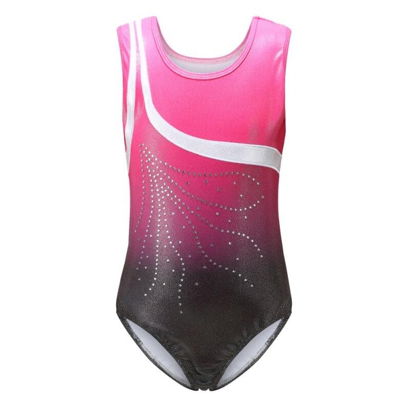 4-12Yrs Girls Children Shiny Leotard Gymnastic Tank Tops Suit Ballet Dancewear