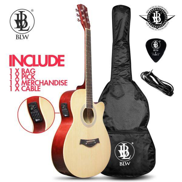 BLW Slimcoustic Slim Acoustic Electric Guitar Plug in Semi Acoustic Guitar Comes with Guitar Bag, Guitar Pick and Merchandise Sticker (Beige) Malaysia