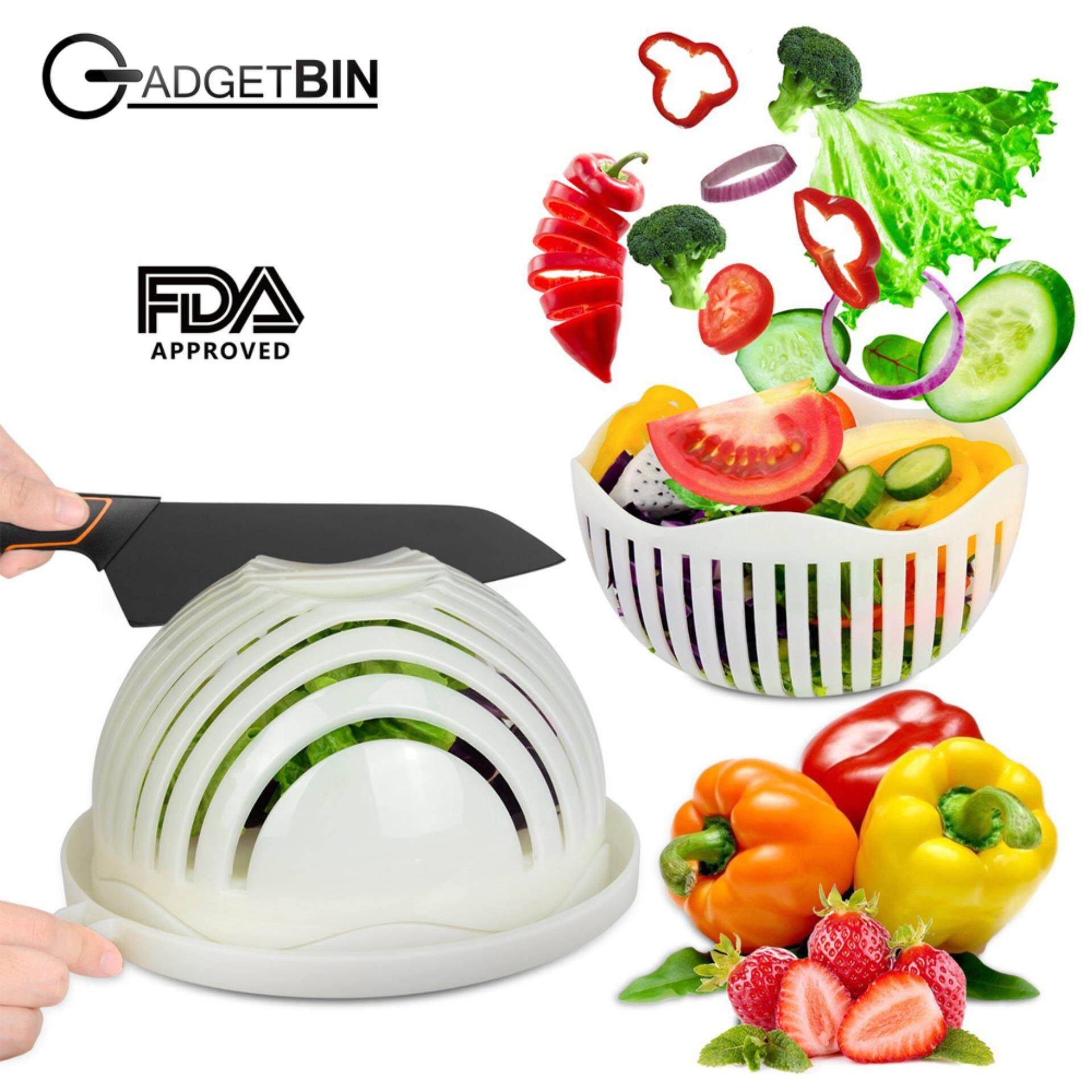 Salad Cutter Bowl Vegetable Cutter Bowl Make Your Salad In 60 Seconds ! By Gadgetbin.