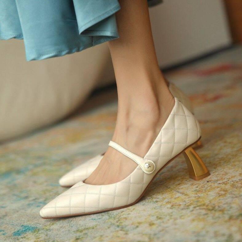 Giày SLV743 New Hepburn Mary Jane, Giày Nữ Hoài Cổ Gót Trung Bình Ngọc Trai Đơn Giản, Giày Tối Giản Giày Cao Gót Mũi Nhọn Phù Hợp Mọi Da Mềm giá rẻ
