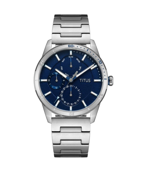 Solvil et Titus W06-03197-001 Mens Quartz Analogue Watch in Blue Dial and Stainless Steep Strap Malaysia