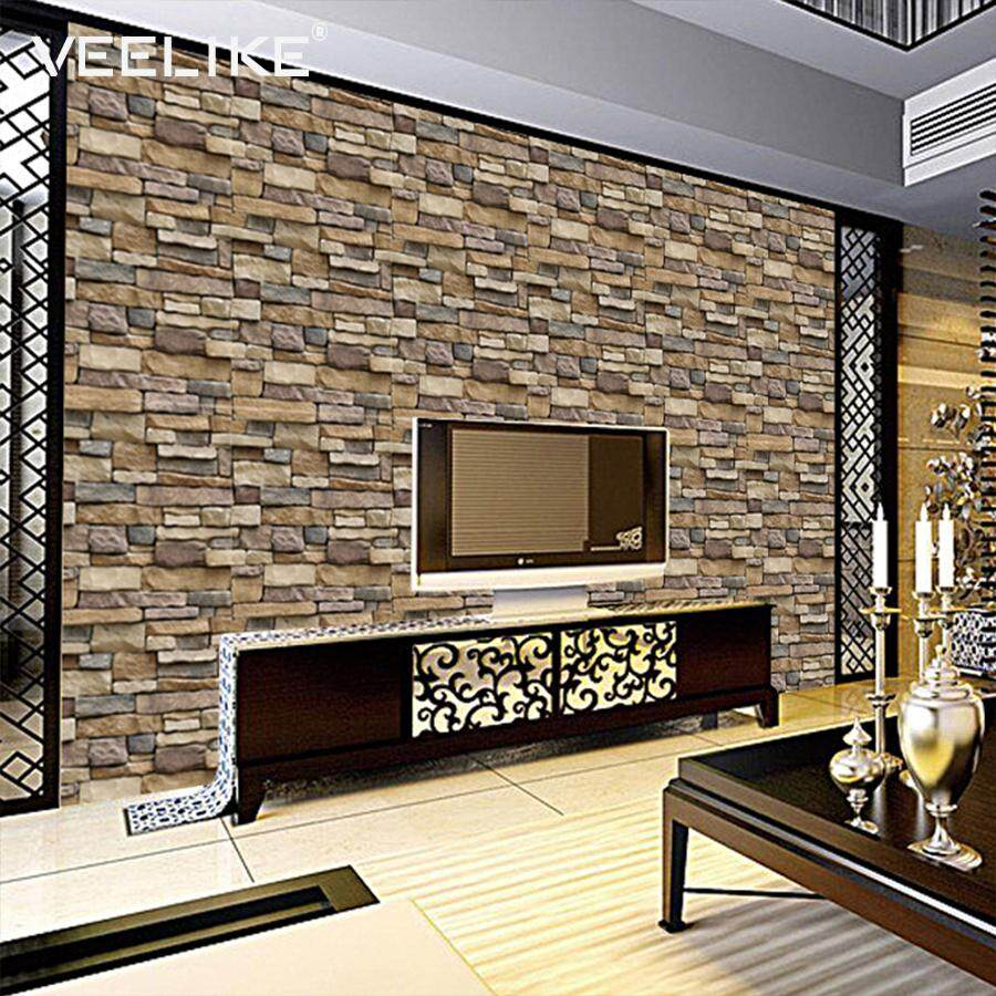 Veelike Shale 3D Texture Self Adhesive Wallpaper Wall Sticker Home Décor House Decal Decoration Sensation 45cm