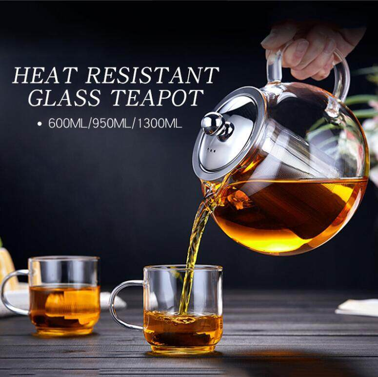 600/950/1300ml Clear Stainless Steel Heat Resistant Glass Teapot Infuser Teapot 600ml By Autoleader.