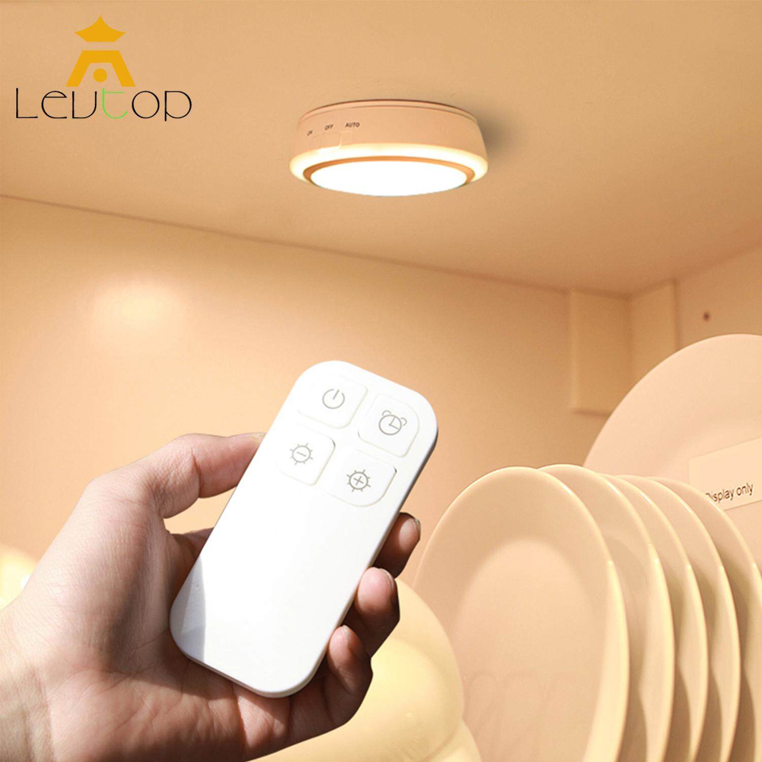 LEVTOP Wireless LED Night Light with Remote Control 5 LED Smart Wall Rechargeable Night Lamp for Lights for Bed Home Office Hallway Cabinet Closet Stairs Bedroom Nursery Stair