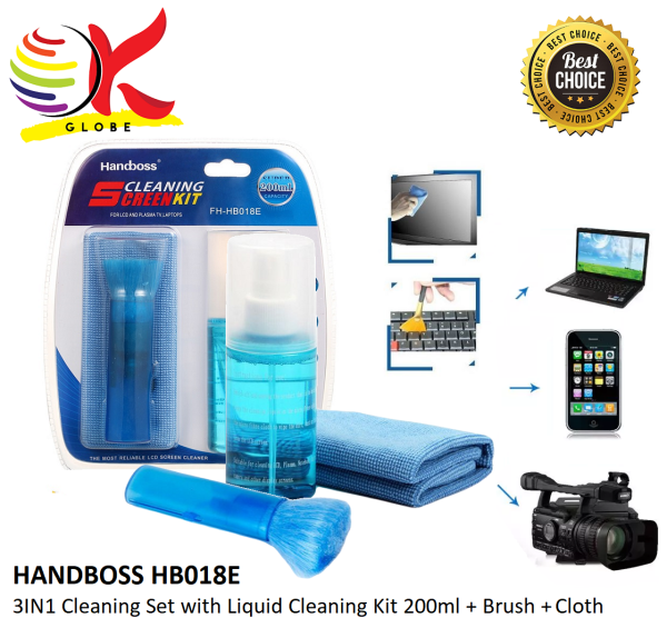 HANDBOSS HB018E 3IN1 LCD LED MONITOR SCREEN LIQUID CLEANING KIT 200ML + RETRACTABLE BRUSH + CLOTH. CLEANING TOOLS CLEANING SET FOR DESKTOP PC, LAPTOP, NOTEBOOK, MOBILE, KEYBOARD CLEANER, DUST CLEANING, KILL GERMS & ABSORBS DIRT