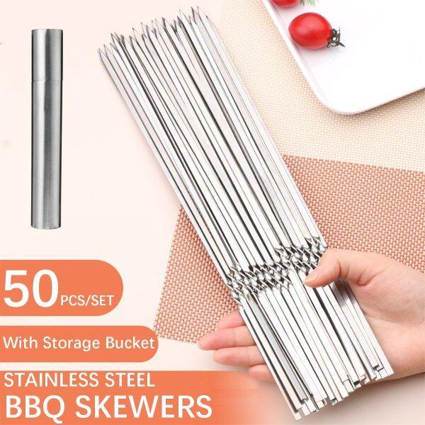 50PCS 30cm Stainless Steel BBQ Skewers Grill Roasting Meat Kebab Sticks Set