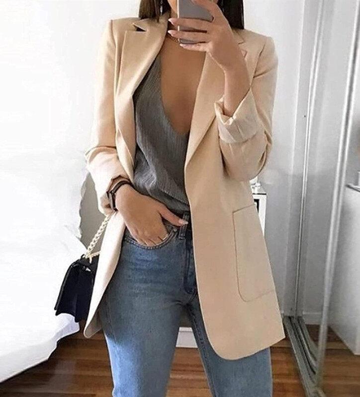 Áo Blazer có túi thời trang công sở cho nữ, áo khoác dạng vest thời trang mùa thu - INTL