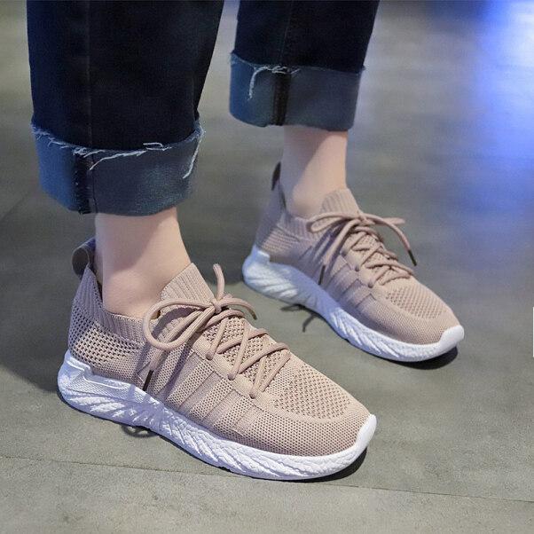 Giày Thường Ngày❣✉☢Giày Thể Thao Nữ Mới Trong Mùa Xuân Và Mùa Thu 2020 Giày Lưới Nữ Bay Bằng Phẳng Dệt Joker Sinh Viên Giày Chạy Bộ Nhẹ Nữ Giải Trí giá rẻ