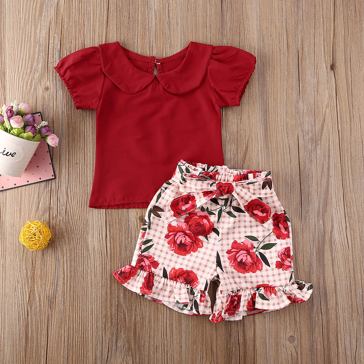 Fashion Toddler Baby Girls Floral Short Sleeve T-Shirt Top Summer Shirts Clothes