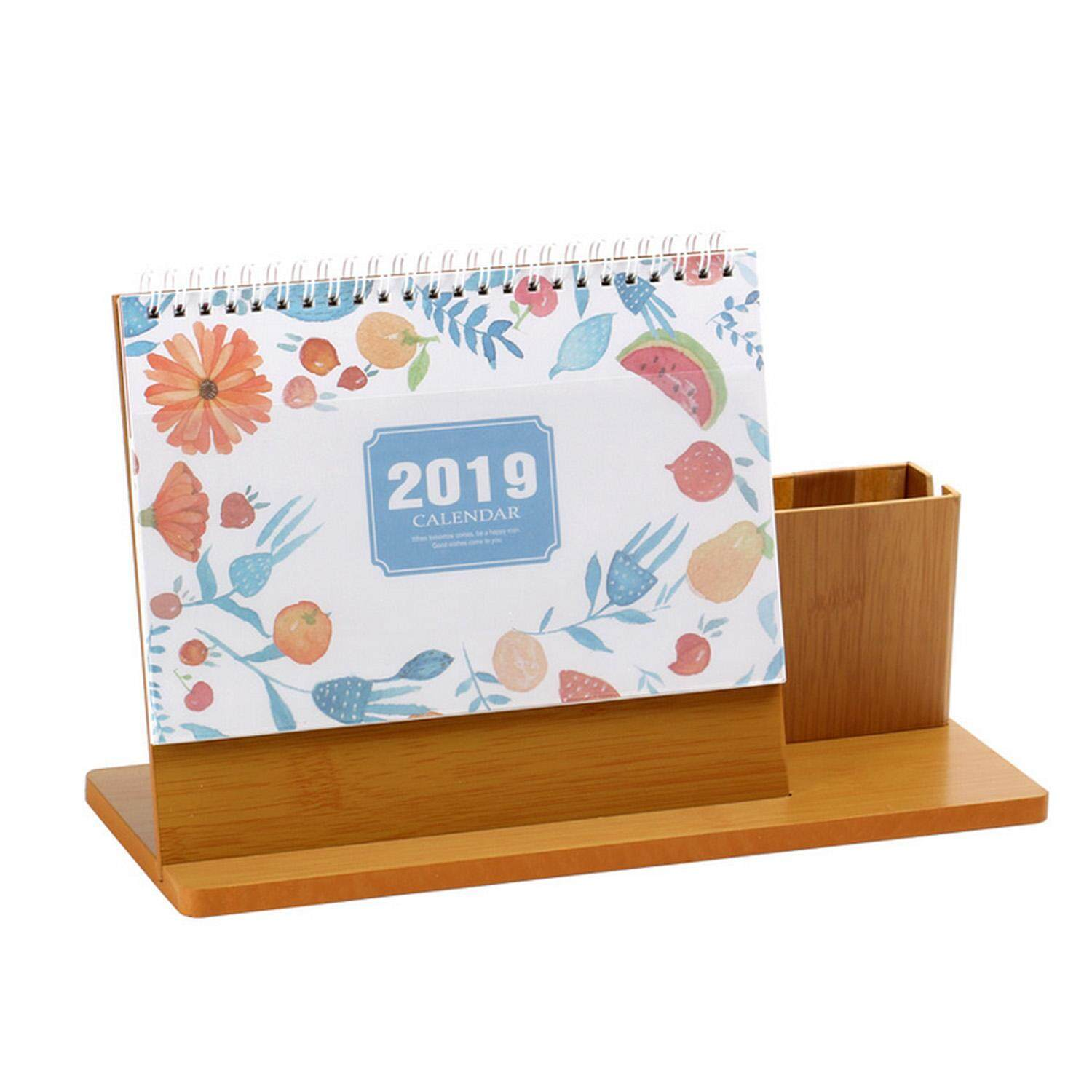 2019 Wooden Desk Standing Yearly Daily Planner Calendar With Pen Pencil Holder For Home Office School Supplies By Stoneky.
