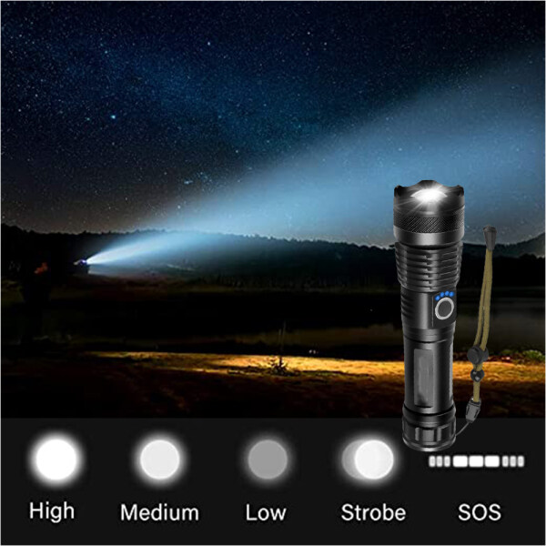 Super Bright T6 Mini Tactical Flashlight Full SET Recharge LED Torch Work Light Zoomable Torchlight Powerful Military Flash Lighting Outdoor Use High Light Portable Torch Light Multifunction for Hunting Fish Emergency USB Charger 18650 Battery Full Set