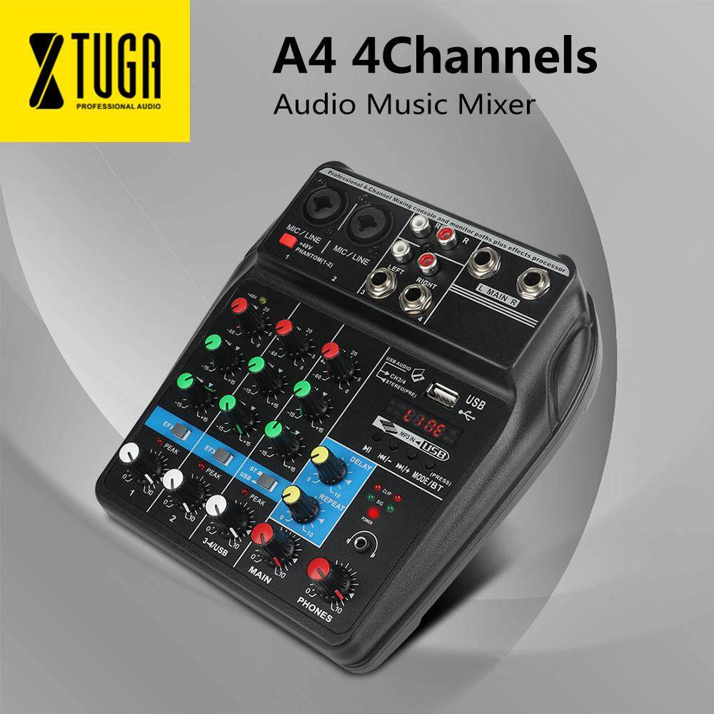 A4 4 Channels Audio Mixer Sound Mixing Console with Bluetooth USB Record  48V Phantom Power Monitor Paths Plus Effects Use for home music, Party