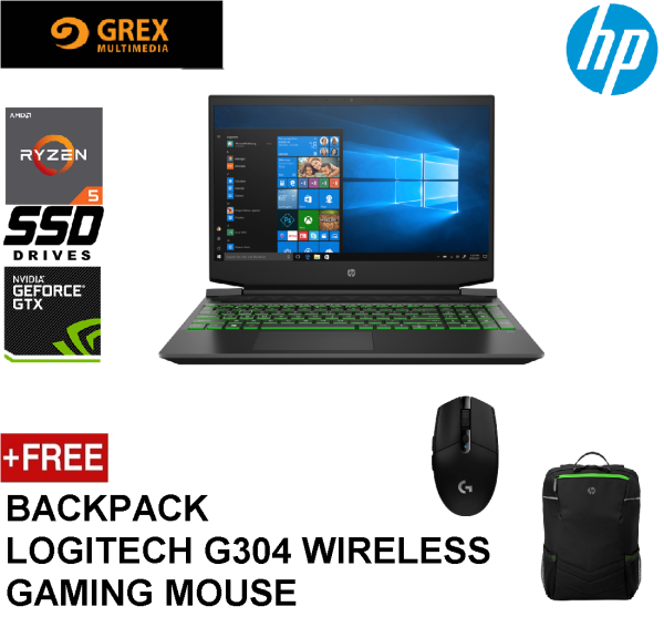 HP PAVILION GAMING NOTEBOOK 15-EC2023AX (RYZEN 5 5600H,8GB,512GB SSD,15.6 FHD 144Hz,GEFORCE GTX1650 4GB,WIN10) FREE BACKPACK + LOGITECH G304 WIRELESS GAMING MOUSE Malaysia