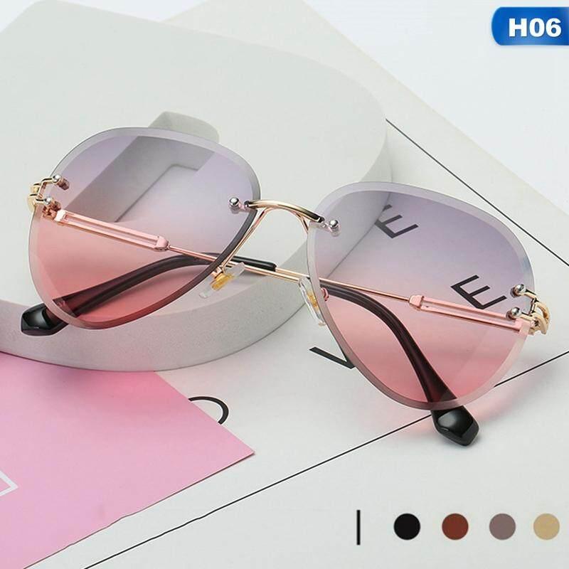 79c60c9d07 SYS New Trimming Sunglasses Frameless Gradient Marine Retro Round Frog  Sunglasses