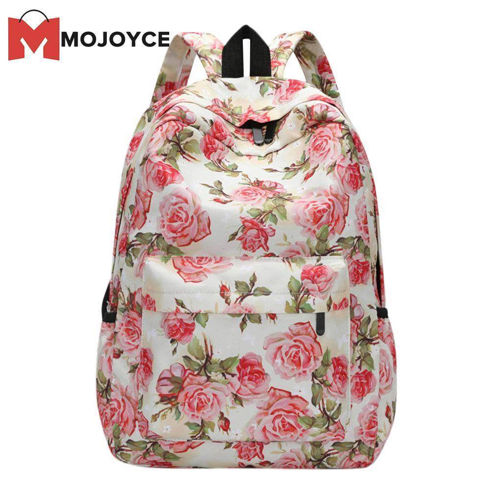 Mojoyce Fashion 3d Flowers Print Shoulder Schoolbag For Girls Casual Travel Women Backpacks(black)-C By Mojoyce Official Store.
