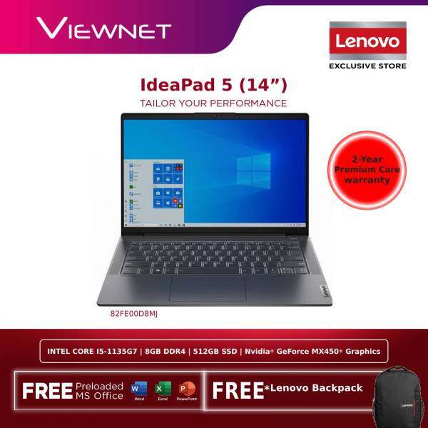 LENOVO IDEAPAD 5 14'' 14ITL05 82FE00D8MJ(GREY)/ 82FE00D7MJ(BLUE) LAPTOP| INTEL CORE I5-1135G7| 8GB DDR4 OB| 512GB SSD M.2 PCIE| NV MX450 2GB GRAPHICS| W10| M.S OFFICE| 2 YEARS WARRANTY| FREE LENOVO BACKPACK Malaysia